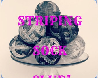 6 MONTH Subscription Jan-June - Self-Striping Sock Yarn, Celebrations 2016