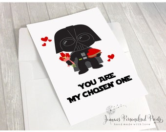 Quirky Star Wars Inspired Darth Vader Personalised Valentines Birthday Anniversary Card - You Are The Chosen One