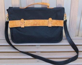 Vintage Jordache Messenger Bag W/ Tan Leather Trim