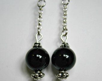 Genuine Black Onyx Earrings, Sophisticated Drop Earrrings, Black Onyx Gemstones,  Sterling Silver Earrings, Gift For Her, Artistry Jewels