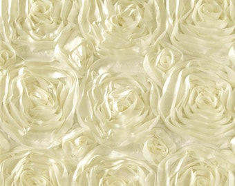 Satin rosette fabric ivory. Sold by the yard.