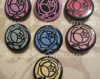 Magical Girl Revolutionary Girl Utena Rose Crest Duelist Buttons