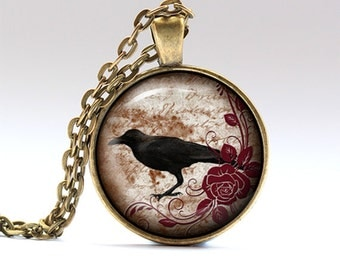 Bird pendant Crow chain Raven necklace RO1672