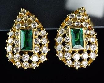 18K Yellow Gold Emerald Diamond Domed Leave Openwork Earrings