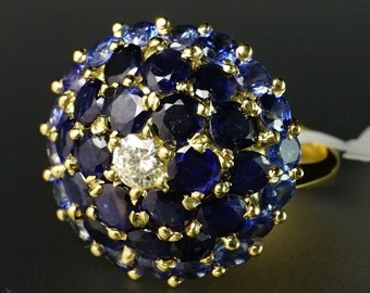 18K Yellow Gold Diamond Blue Sapphire Cluster Ballerina Domed Vintage Ring