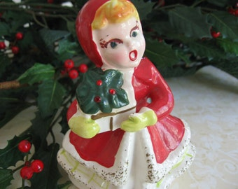 Vintage Christmas Girl Figurine with Gift and Poinsettia Kreiss & Company - 1950's