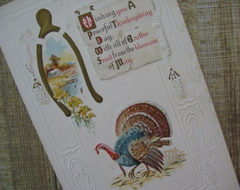 Antique Thanksgiving Postcard Embossed Turkey and Wishbone, Used - 1912