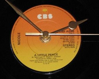 "Nicole A little peace  7"" vinyl record clock"