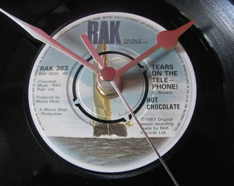 "Hot Chocolate tears on the telephone  7"" vinyl record clock"