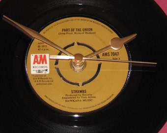 "Strawbs part of the union   7"" vinyl record clock"