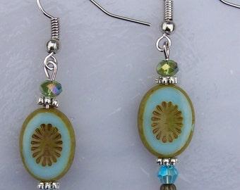 Blue-green Flower Oval Earrings