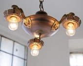 Restored Charming Victorian Pan Light Chandelier (3 Bulb)-HOLD FOR NAVID