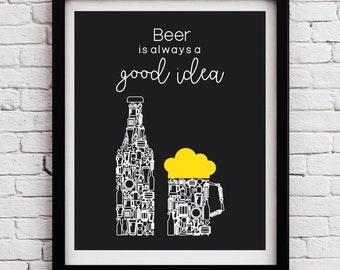 Black White Yellow beer art decor, Kitchen wine print, Beer art, Beer poster, Kitchen wall art, Beer wall decor, Kitchen poster, Kitchen Art