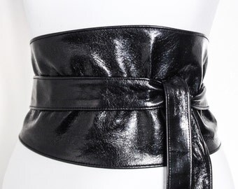 Black Shiny Corset Obi Belt Soft Leather, Wide Waist Belt, Leather obi belt,  Corset Belt, Plus size belts