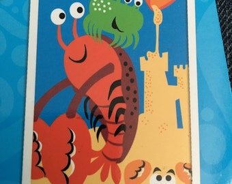 Personalized Beach Towel, Sand Castle Lobster crab towel