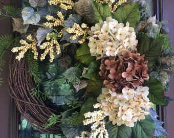 Summer Wreath, Hydrangea Wreath, Grapevine Wreath, Neutral Wreath, Front Door Wreath