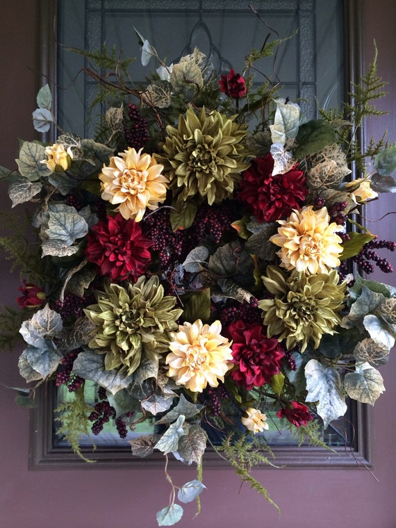Elegant Wreath Front Door Wreath Dahlia Wreath Berry