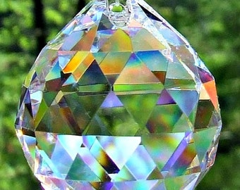 1 Crystal Ball, Asfour 30mm  Faceted Crystal Prism Ball,  Sun Catcher, Feng Shui Crystal Prism Ball, Wedding Décor, Christmas ornament