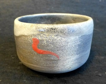 Gray Chawan, Japanese Style Tea Bowl, ceramic tea bowl with red design, chawan pottery yunomi tea cup