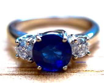Platinum 3-Stone Sapphire And Diamond Ring