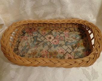 Antique Basketweave Birds and Flowers Behind Glass Vanity Tray, 1920 Vanity Tray, Handmade Vanity Tray, Dresser Bathroom Tray Woven Tapestry