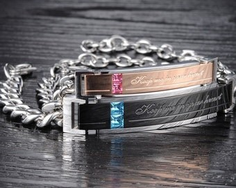 Engraved ID lovers couple of bracelets stainless steel - Engrave your text