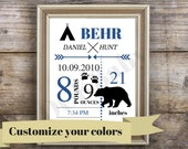 Bear Baby announcement wall art, personalized baby present, custom birth stats print, birth announcement, baby wall art, baby gifts, Camping