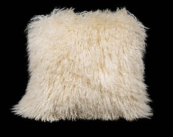 "White 18""x18"" Tibet Lamb Pillow with Microsuede Back"