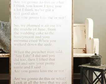 Custom Lyric Sign | I'll be here for you | wedding song | custom sign