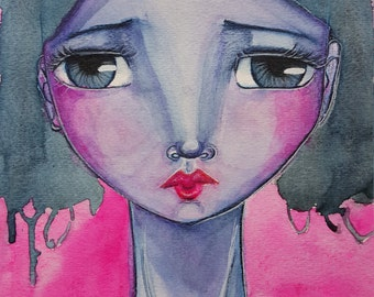 Estelle. Original one of a kind mixed media painting on paper. Abstract watercolor portrait.