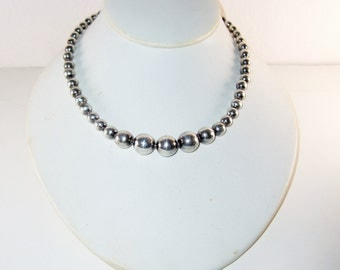 Mexican Sterling Silver Graduated Bead Necklace Vintage