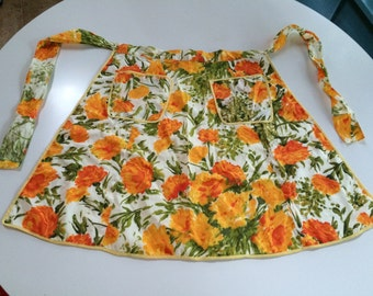 Retro Hostess Apron - Orange Roses Apron
