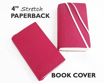 """Stretch Paperback Book Cover PINK DENIM 4"""", Fabric Book Cover, Book Protection, Gifts for Book Lovers, Book Accessories, Back to School"""