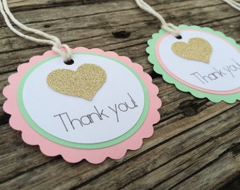 Heart Gift Tags - Favor Tags, Mink and Gold Party, Pink and Gold Party, Baby Shower, First Birthday, Party Favor