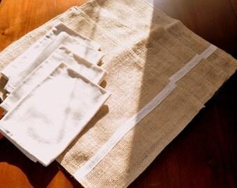 Set of 4 Burlap Placemats, 4 Muslin Napkins, Handmade