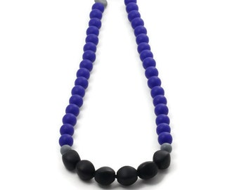 Silicone teething necklace - cobalt blue, grey and black