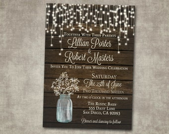 Wedding Invitation Baby's Breath Mason Jar Rustic Wood Country Barn String Fairy Lights Cream Digital or Printed I customize for you