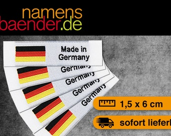 5 Web labels / textile labels to sew 'Made in Germany' 1.5 x 6 cm