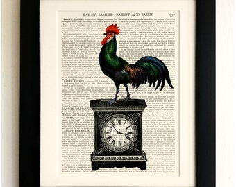 FRAMED ART PRINT on old antique book page - Chicken on a Clock, Vintage Upcycled Wall Art Print Encyclopaedia Dictionary