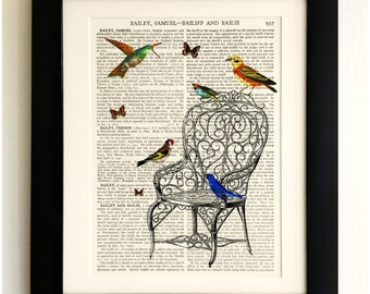 ART PRINT on old antique book page - Birds with Chair and Butterflies, Vintage Upcycled Wall Art Print, Encyclopaedia Dictionary Page