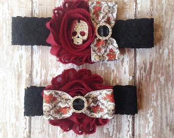 Skulls and Roses Garter Set...Rhinestone Skull Wedding Garter...Bridal Garter and Toss Garter