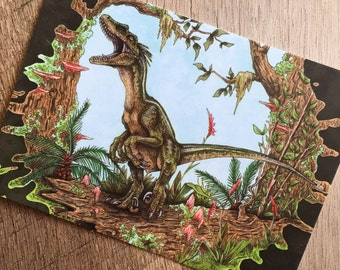 Raptor Call Dinosaur Art Print