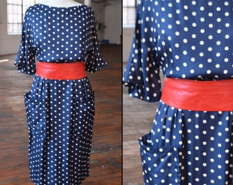 50s Navy Blue with Beige Polka Dots Wiggle Dress