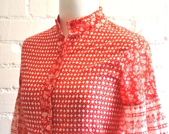 Vintage 70's Printed Pyschedelic Blouse
