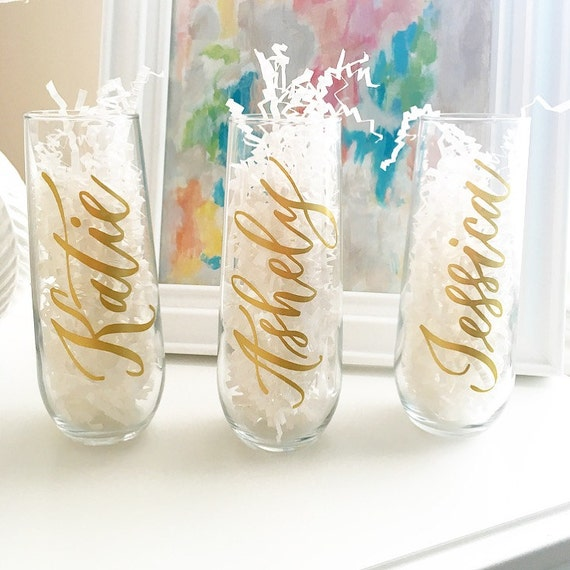 Personalized Champagne Flutes Bridesmaid By