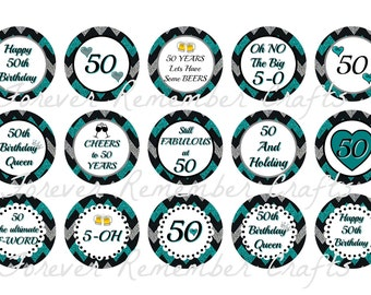 INSTANT DOWNLOAD 50th Birthday Party Inspired 1 Inch Bottle Cap Image Sheets *Digital Image* 4x6 Sheet With 15 Images
