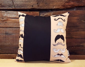 SALE last model available . mustaches . pillow cover . black white beige . mustache pillow . hipster