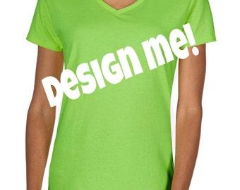 Womens V-Neck |  Cotton Short Sleeve Shirt | Spring Summer | You choose your own vinyl shirt | PLEASE read shop announcement!