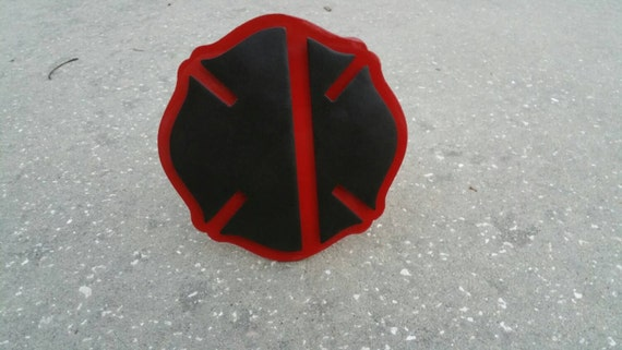 Thin red line maltese cross fire department trailer hitch cover