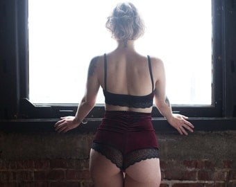 High Waist Burgundy Velvet & Lace Panties